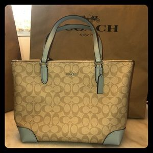 Coach Signature Tote Powder blue accents